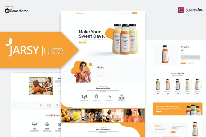 Thumbnail for Jarsy Juice - Trinken Marke Elementor Template Kit