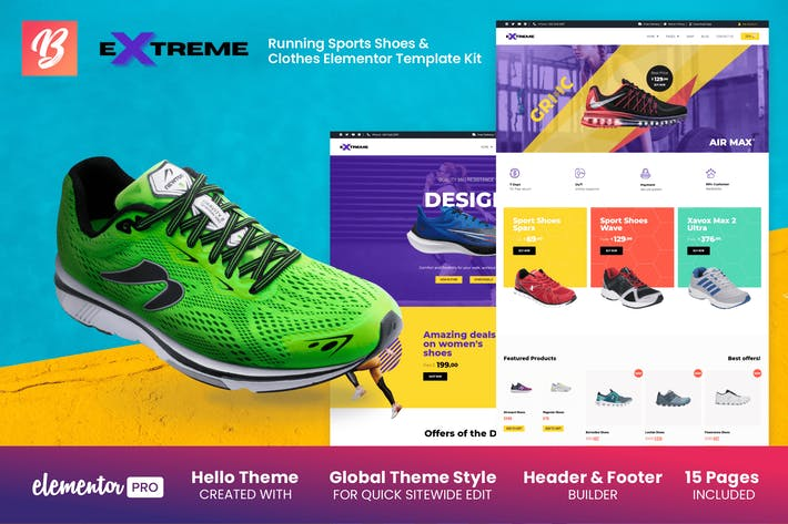 Thumbnail for Extreme - Running Sport Chaussures & Vêtements Elementor Template Kit
