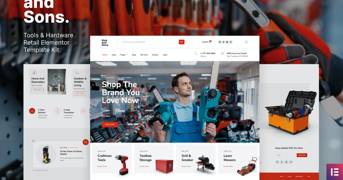 Download Rick and Sons – Tools & Hardware Retail WooCommerce Template Kit by deTheme
