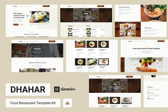 Dhahar - Restaurant Elementor Template Kit
