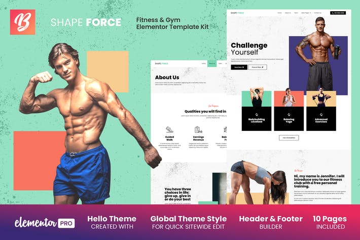 Shape Force - Fitness & Gym Elementor Template Kit