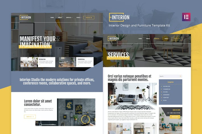 Interion - Interior Design Elementor Template Kit it