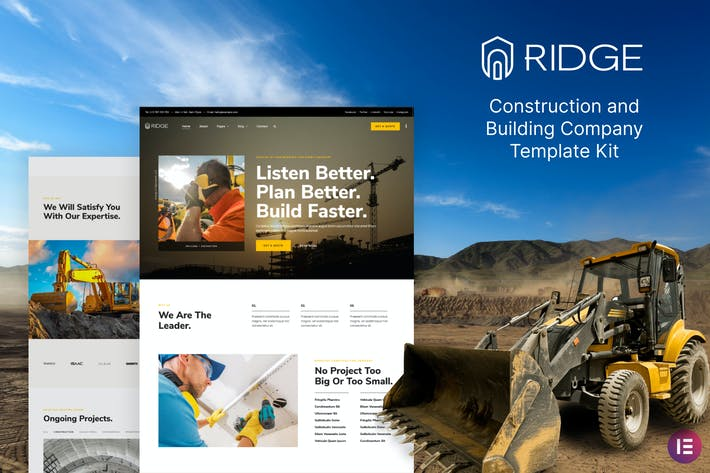 Thumbnail for Ridge – Construction & Building Company Elementor Template Kit