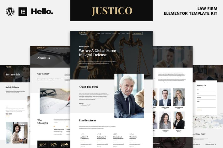 Thumbnail for JUSTICO - Law Firm Elementor Template Kit