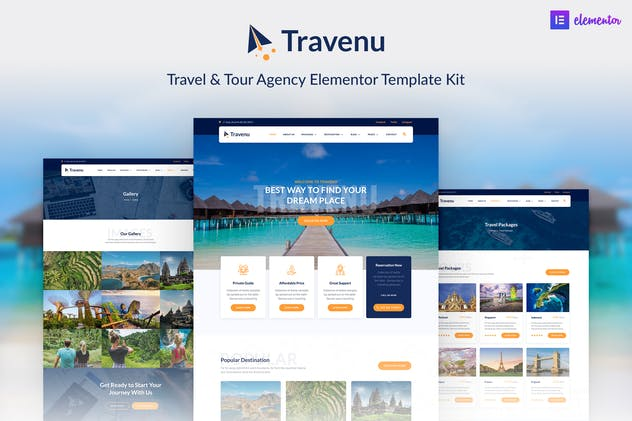 Travenu –  Travel & Tour Agency Elementor Template Kit