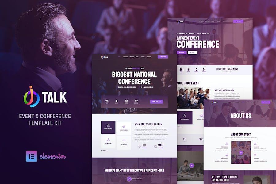 iTalk — Template Kit Elementor para eventos y conferencias