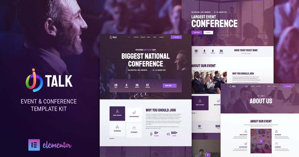 Download iTalk – Event & Conference Elementor Template Kit by jegtheme