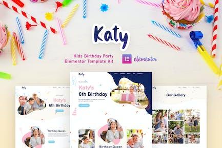 Katy - Kids Birthday Party Planner & Invitation Elementor Template Kit