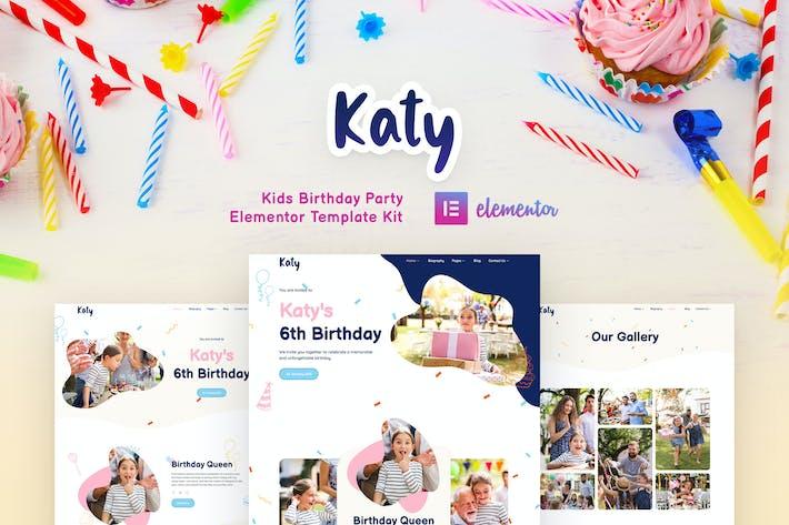 Katy - Kindergeburtstags-Party-Planer & Einladung Elementor Template Kit
