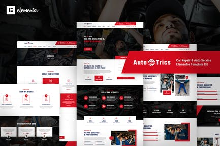 AutoTrics — Template Kit для ремонта автомобилей и автообслуживания Elementor