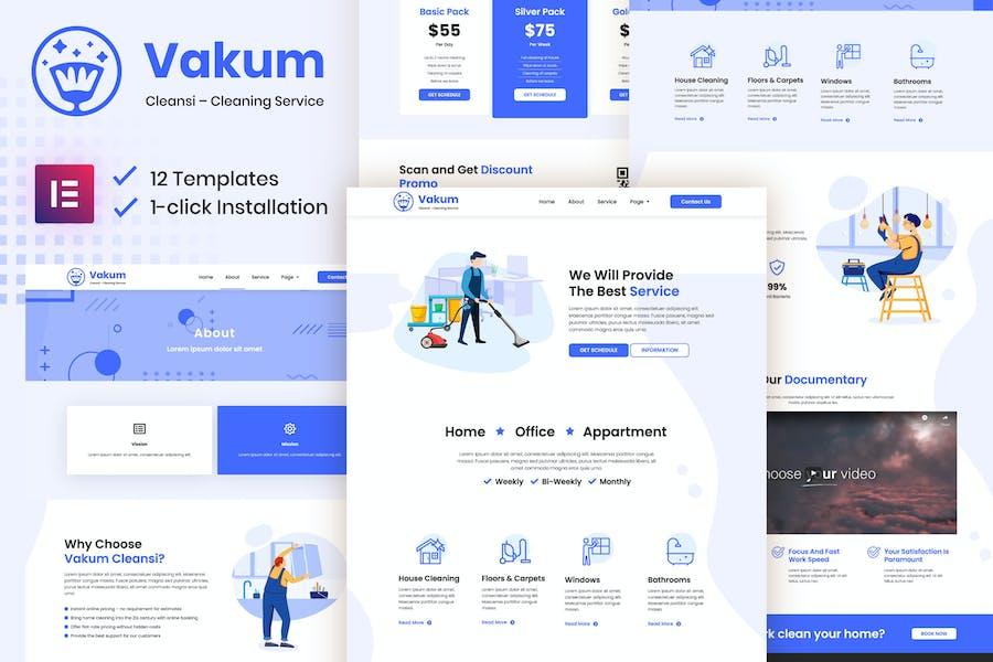 Vakum - Template Kit Elementor de Servicio de Limpieza