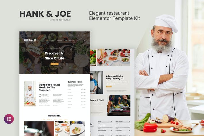 Hank & Joe – Elegant Restaurant Elementor Template Kit