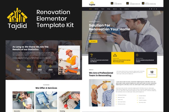 Thumbnail for Tajdid - Renovierung Elementor Template Kit