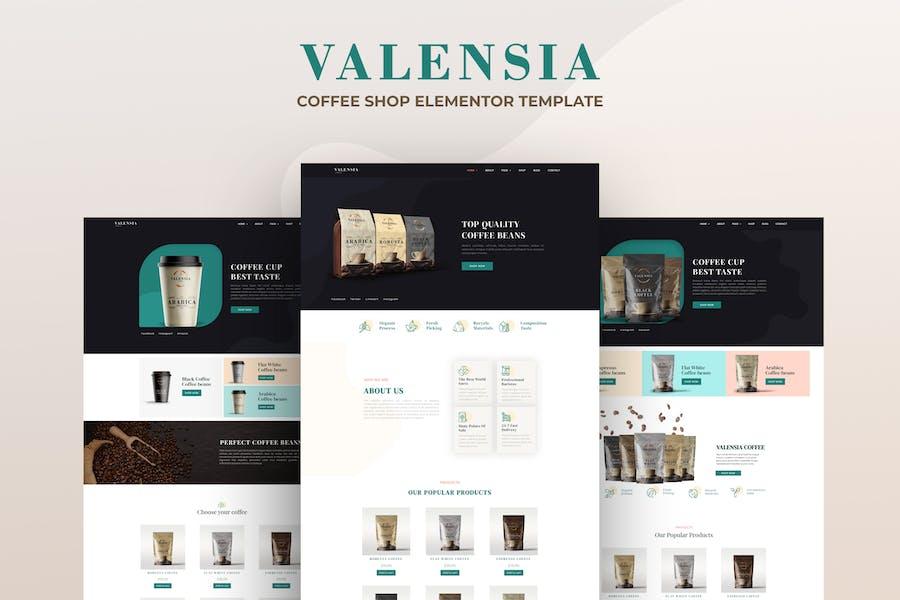 Valensia | Template Kit Elementor de Cafetería