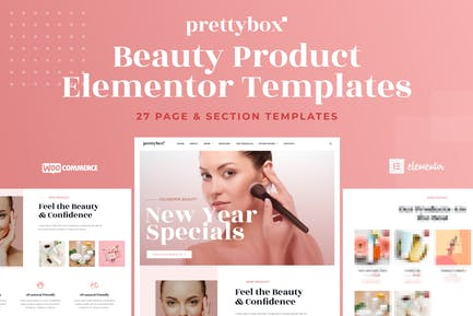 Prettybox - Cosmetic & Beauty Products Shop Elementor Template Kit