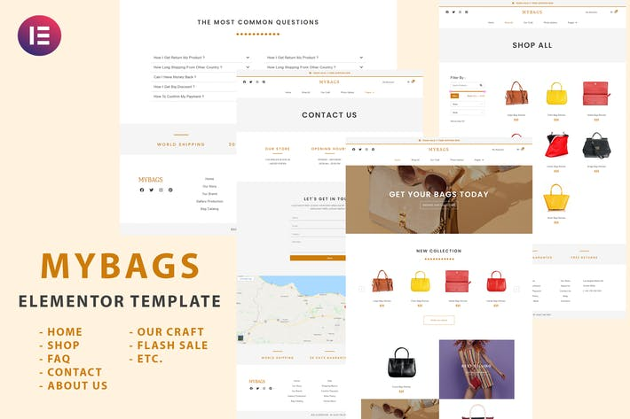 Mybags - Modern Commerce Elementor Template Kit