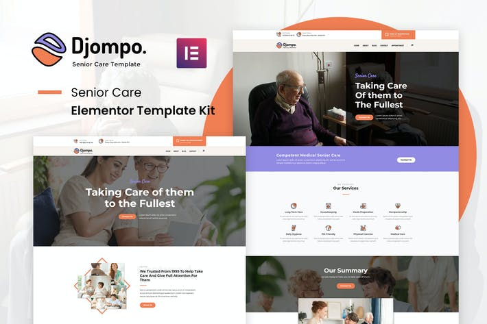 Djompo Kit - Senior Care Elementor Template Kit