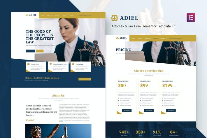 Thumbnail for Adiel - Attorney & Law Firm Elementor Template Kit