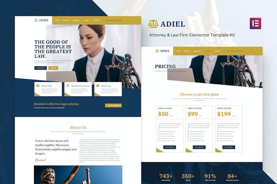 Adiel - Template Kit Elementor de abogado y bufete de abogados