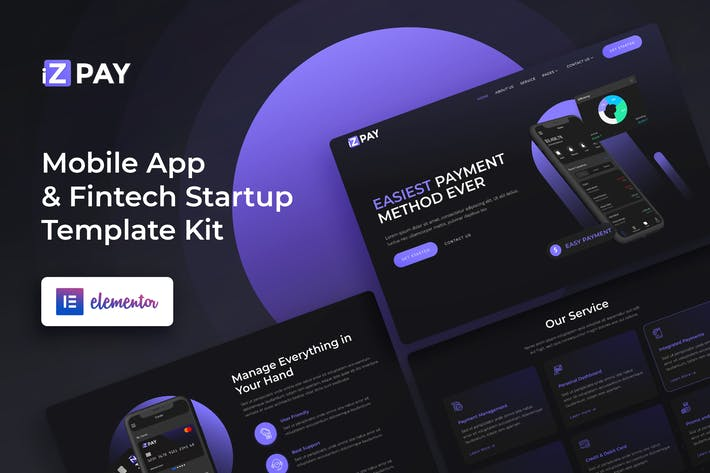 Thumbnail for iZPAY - Mobile App & Fintech Startup Elementor Template Kit