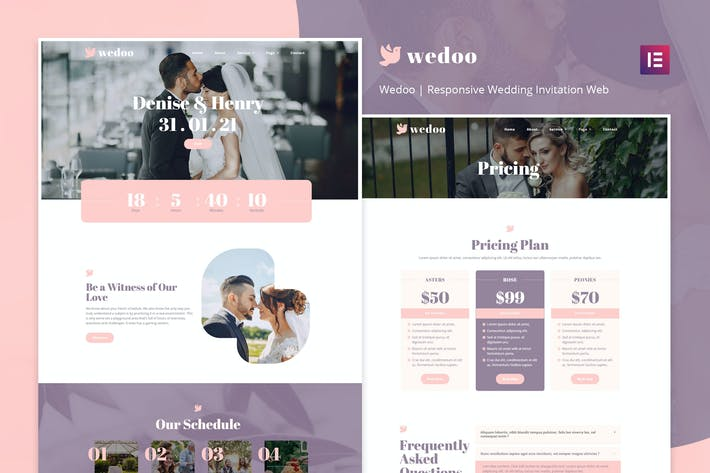 Wedoo - Online Wedding Invitation Elementor Template Kit