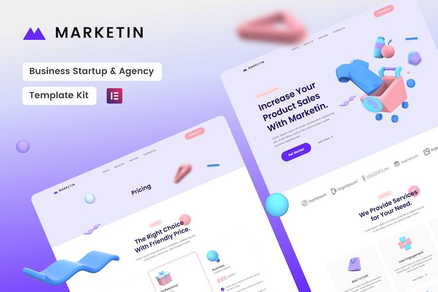 Marketin - Elementor-Template Kit für Unternehmensgründungen und -Agentur