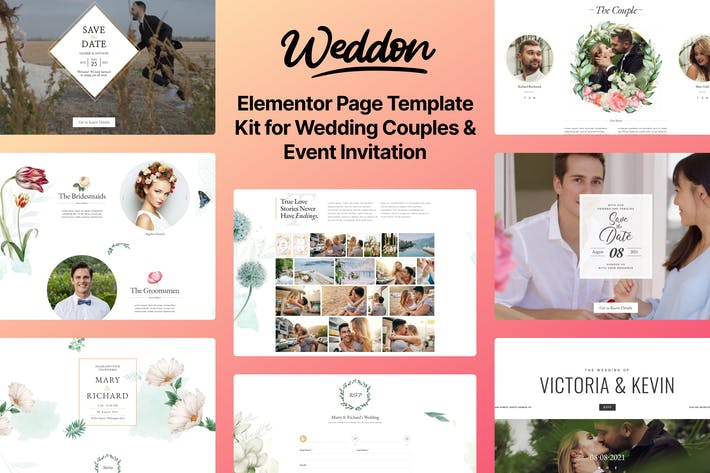 Thumbnail for Weddon - Wedding Event Invitation Elementor Template Kit