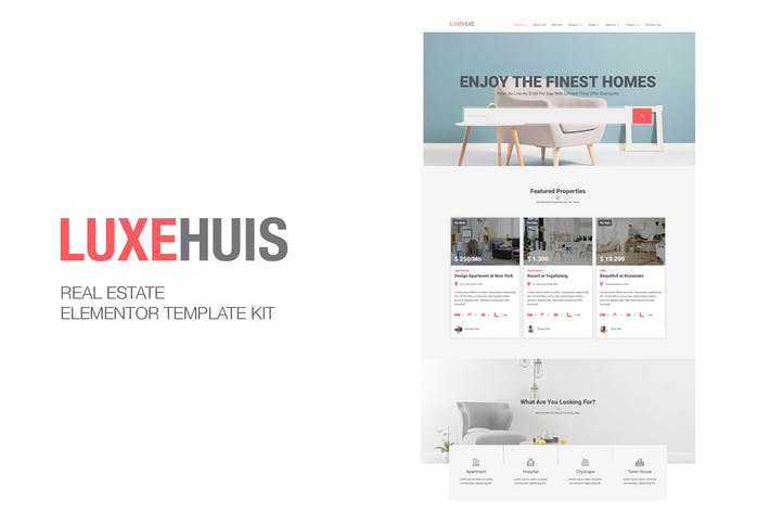 Thumbnail for Luxehuis - Real Estate Elementor Template Kit