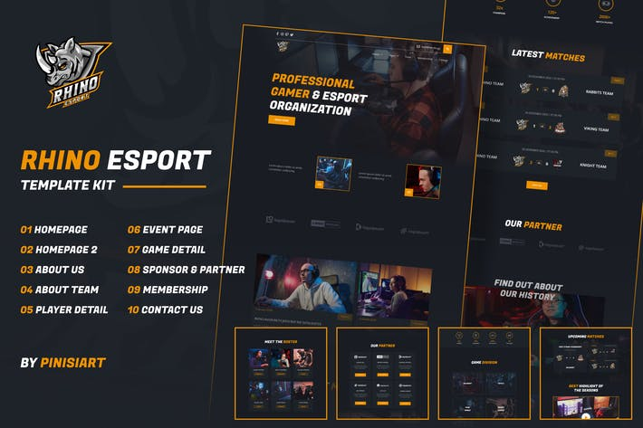 Rhino | e-Sports Elementor Template Kit