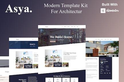Asya - Template Kit Elementor de Arquitectura Moderna