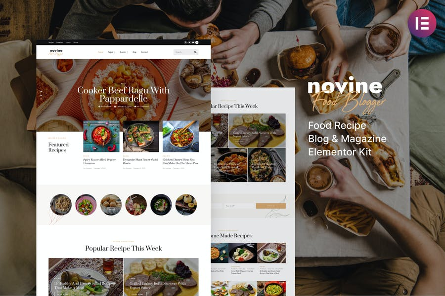 Novine — Template Kit de blog de recetas de alimentos y revistas