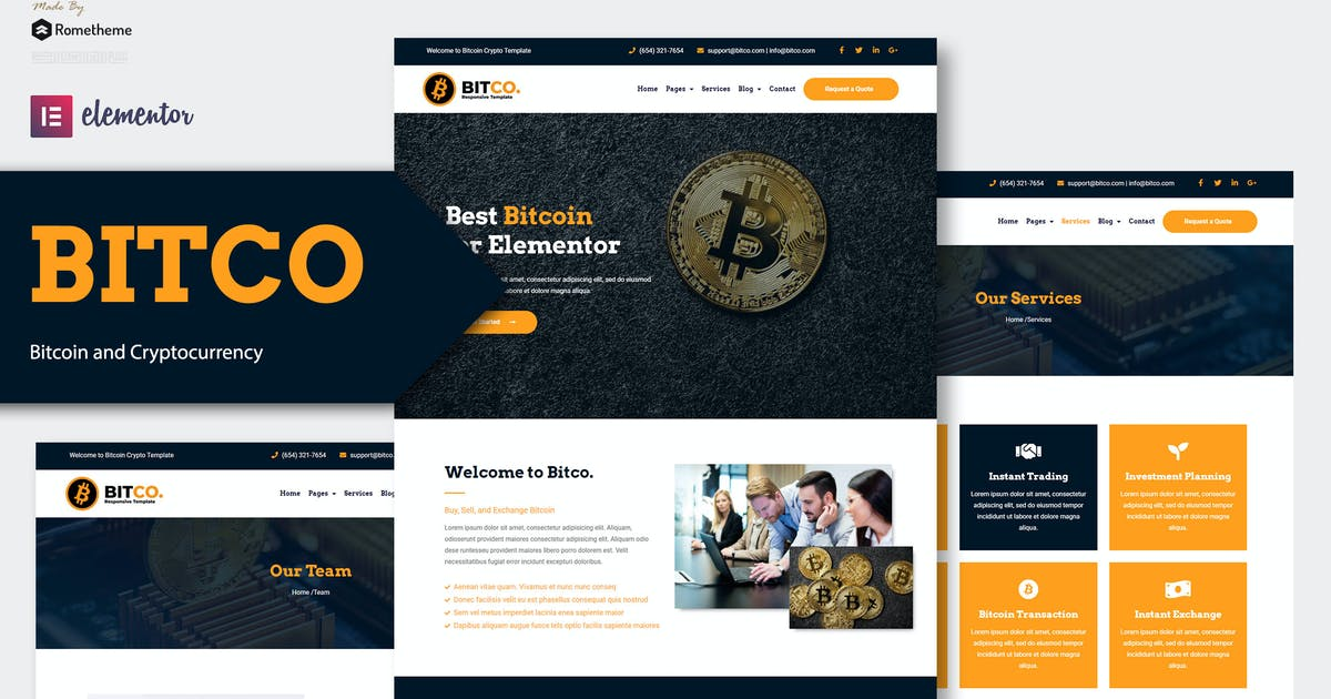 Download Bitco - Bitcoin & Cryptocurrency Elementor Template Kit by Rometheme