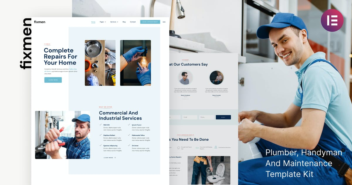 Download Fixmen - Handyman & Maintenance Elementor Template Kit by deTheme