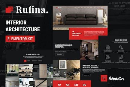 Rufina - Elementor-Vorlagen-Kit Template Kit Innenarchitektur