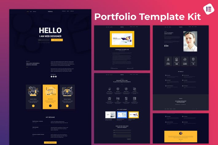 Propus — Webdesigner Portfolio Elementor Template Kit