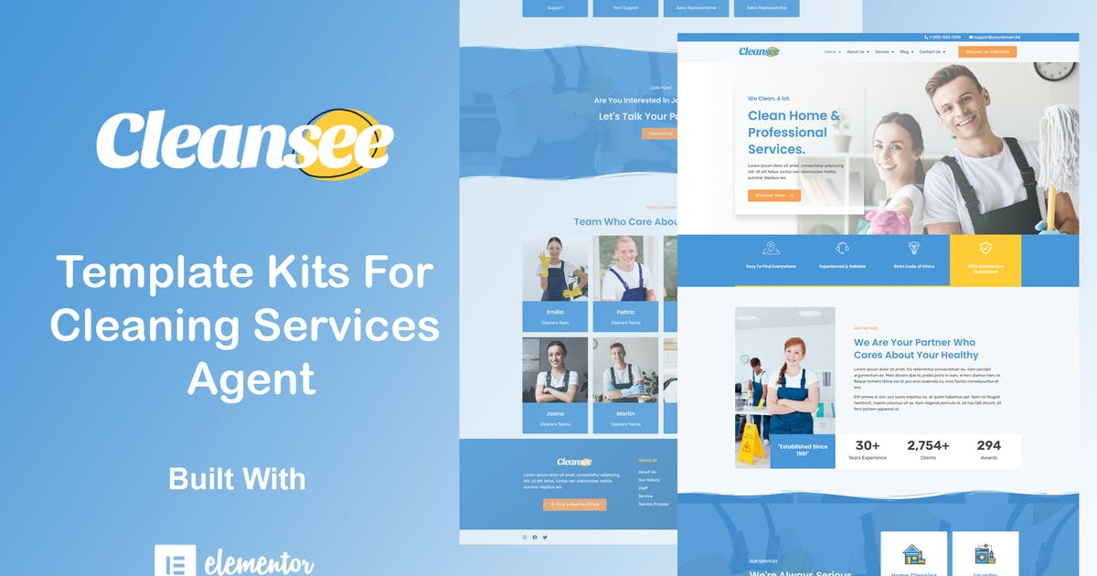 Download Cleansee - Cleaning Service Elementor Template Kit by Alfinart