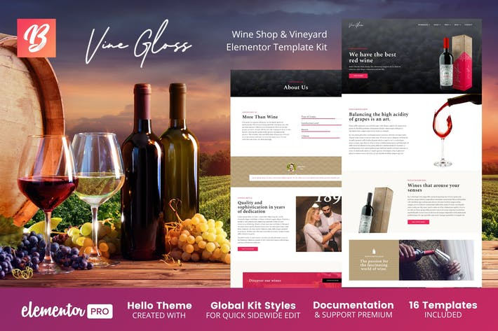 Vine Gloss - Wine Shop & Vineyard Elementor Template Kit