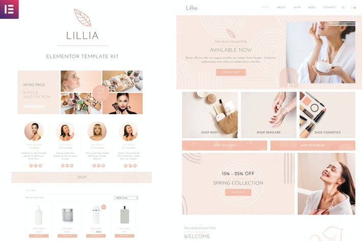 Lillia - Beauty & Skincare Elementor Template Kit