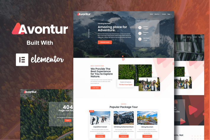 Avontur - Modern Tour & Travel Elementor Template Kit