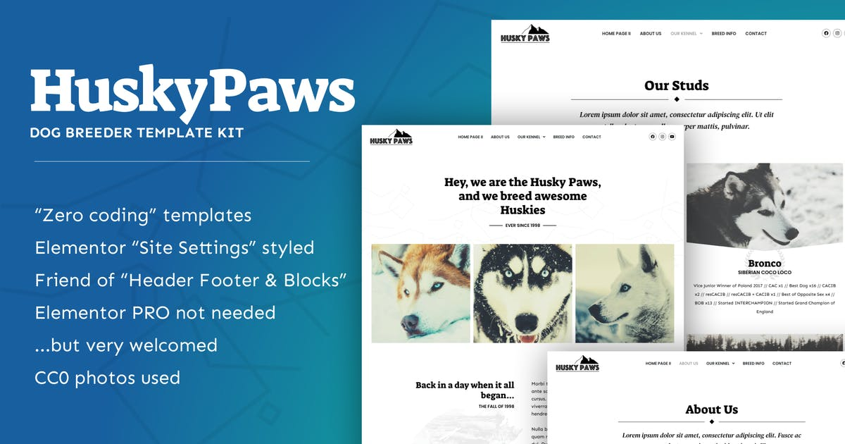 Download HuskyPaws - Dog Breeder Elementor Template Kit by feeleep