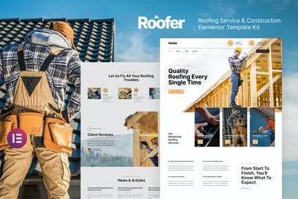 Roofer – Roofing Service & Construction Elementor Template Kit