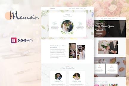 Memoir - Wedding Event & Party Organizer Elementor Template Kit