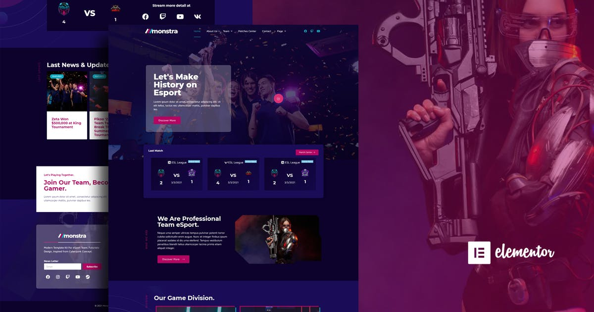 Download Monstra - Esports & Gaming Elementor Template Kit by moxcreative
