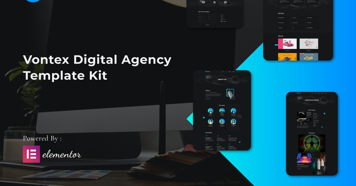 Download Vontex - Digital Agency Elementor Template Kit by esensifiksi