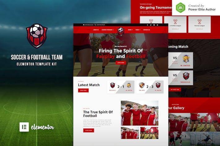 Socca – Football Team  & Sports Club Elementor Template Kit