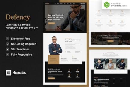 Defency - Template Kit de elementor para bufete de abogados y abogado