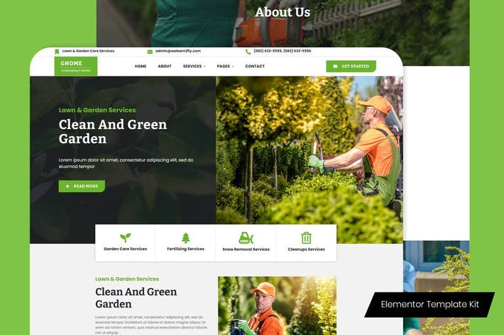 Gnome - Lawn & Garden Care Services Elementor Template Kit