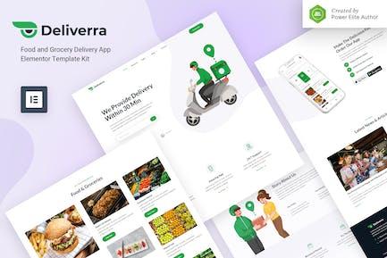 Deliverra — App Elementor Template Kit für Lebensmittel- und Lebensmittellieferungen