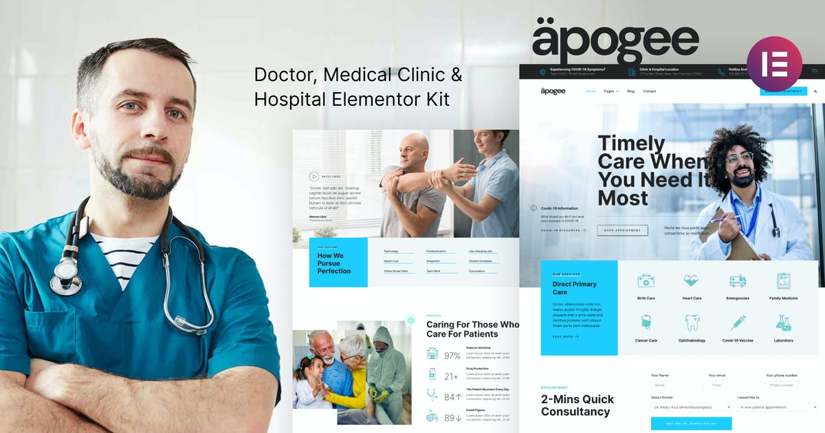 Download Apogee — Medical Clinic & Hospital Elementor Template Kit by deTheme