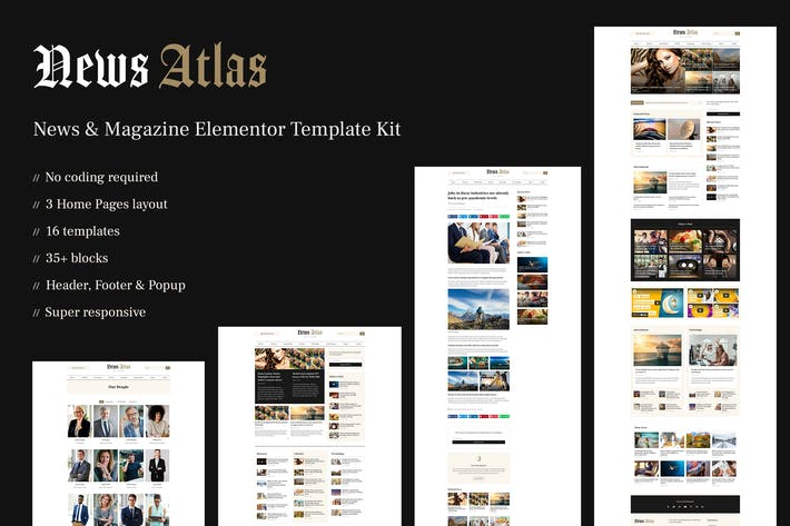 NewSatlas — Noticias y Revista Elementor Template Kit